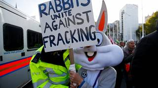 A police officer moves a protester outside the Houses of Parliament during a demonstration against fracking, in London, Britain, October 31, 2018