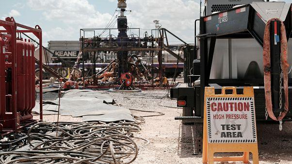 FILE PHOTO: Chevron fracking site near Midland, Texas, US. August 22, 2019. Picture taken August 22, 2019.