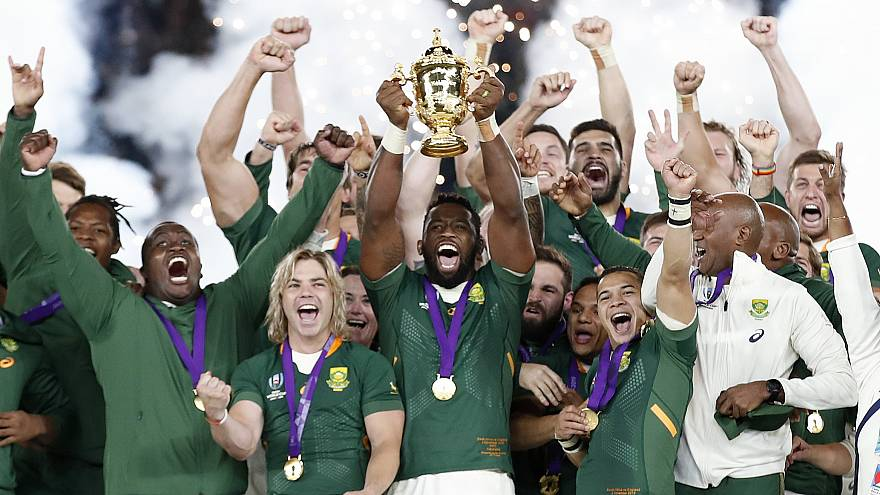 Rugby World Cup - Final - England v South Africa - International Stadium Yokohama, Yokohama, Japan - November 2, 2019 South Africa's Siya Kolisi celebrates with