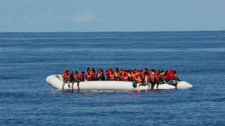 A rubber dinghy carrying migrants rescued by German NGO Sea-Eye ship Alan Kurdi is pictured at sea in the Mediterranean, October 26, 2019. Picture taken October 26, 2019.