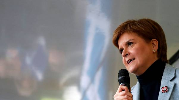 Scotland's First Minister Nicola Sturgeon speaks during a pro-Scottish Independence rally in Glasgow, Scotland, November 2, 2019.