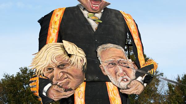The 11-metre effigy of Britain's Speaker of the House of Commons John Bercow holding Prime Minister Boris Johnson and Labour Party leader Jeremy Corbyn.