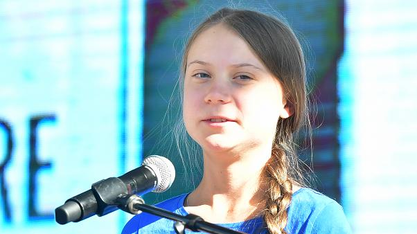 Teenage Swedish activist Greta Thunberg addresses the crowd while attending a climate action rally in Los Angeles, California on November 01, 2019.