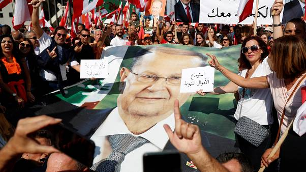 Thousands rally in support of Lebanese president Michel Aoun