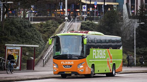 A bus of German provider Flixbus is seen in front of Nijmegen railway station in Nijmegen, The Netherlands, on December 28, 2016.