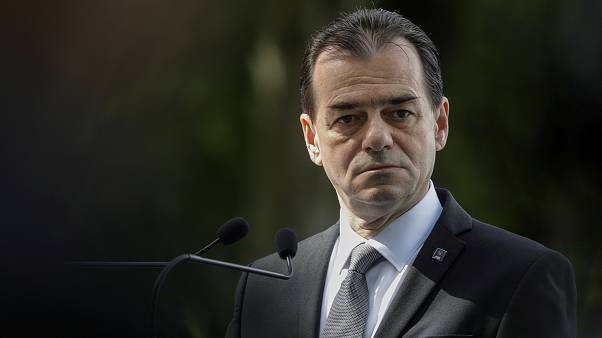 PNL president Ludovic Orban during a news conference held by EPP leaders and Romanian President Klaus Iohannis in Sibiu
