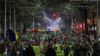 تظاهرات در بخارست، پایتخت رومانی در اعتراض به تخریب گسترده جنگلها و قتل جنگلبانان