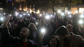Protesters take part in a demonstration against the only nomination for a new chief prosecutor in Sofia, Bulgaria, October 8, 2019.