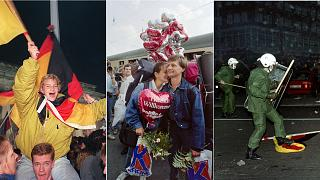 Reunification celebrations, 3 October, 1990; East Germans are greeted with balloons reading 'hearty welcome' in Bavaria, 11 September, 1989; Berlin anti-reunification protest