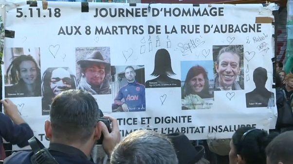Hommage aux victimes de la rue d'Aubagne à Marseille