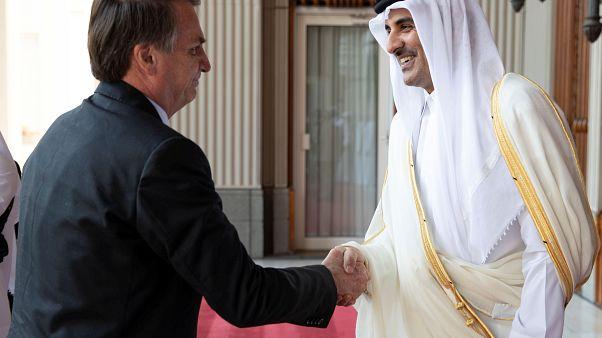 أمير قطر الشيخ تميم بن حمد آل ثاني مستقبلا الرئيس البرازيلي جائير بولسونارو