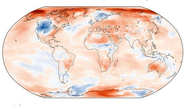 Anomalía de temperaturas en octubre respecto a la media 1981 - 2010