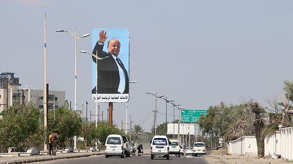 صورة الرئيس اليمني عبد ربه منصور هادي تتوسط أحد شوارع عدن - 2019/11/05