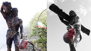 La imagen del líder mapuche Cupolicán con la cabeza de Dagoberto Godoy, un icono de las protestas