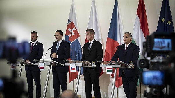 Orbán Viktor magyar, Andrej Babiš cseh, Mateusz Morawiecki lengyel és Peter Pellegrini szlovák kormányfő sajtótájékoztatója Prágában
