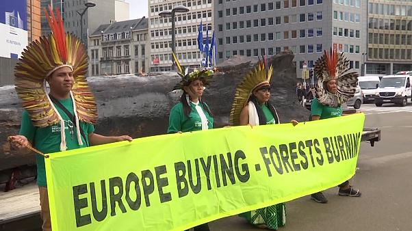 Indigenous Brazilians protest Amazon deforestation outside EU Commission