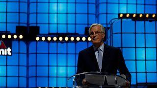 The EU's chief Brexit negotiator Michel Barnier speaks at Web Summit in Lisbon, Portugal