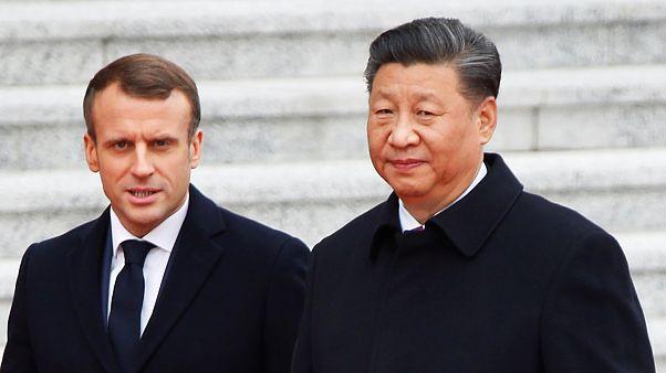 Fransa Cumhurbaşkanı Macron'u Çin Devlet Başkanı Xi Jinping karşıladı