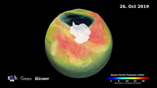 El agujero de la capa de ozono el 26 de octubre