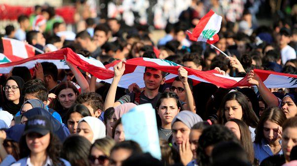 جانب من الاحتجاجات الطلابية في مدينة صيدا الجنوبية، لبنان،  6 نوفمبر 2016