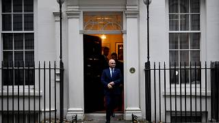 Britain's Chancellor of the Exchequer Sajid Javid leaves his office in Downing Street in London