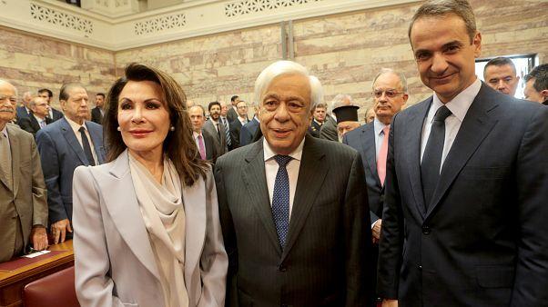 Ο Πρόεδρος της Δημοκρατίας  ο πρωθυπουργός και η πρόεδρος της Επιτροπής «Ελλάδα 2021»