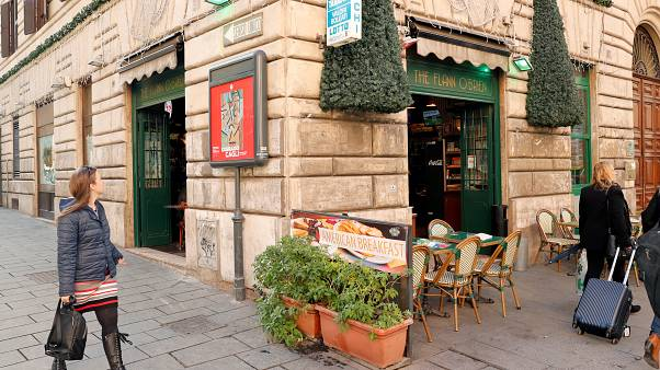 The Flann O'Brien Irish bar, where two Celtic fans were stabbed ahead of an Europa League soccer match against Lazio, in Rome, Italy November 7, 2019.