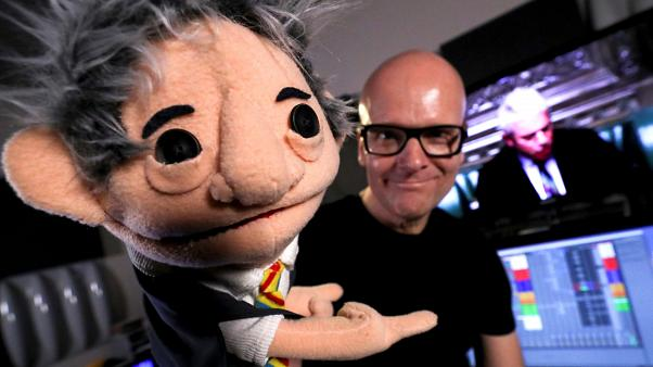 """Belgian music producer Michael Schack, creator of the track """"Order"""", with  puppet depicting Bercow, on November 6, 2019."""
