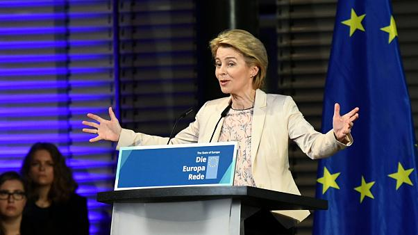 FILE PHOTO: EU Commission President-elect Ursula Von der Leyen holds a speech on the present situation in Europe, in Berlin, Germany November 8, 2019.