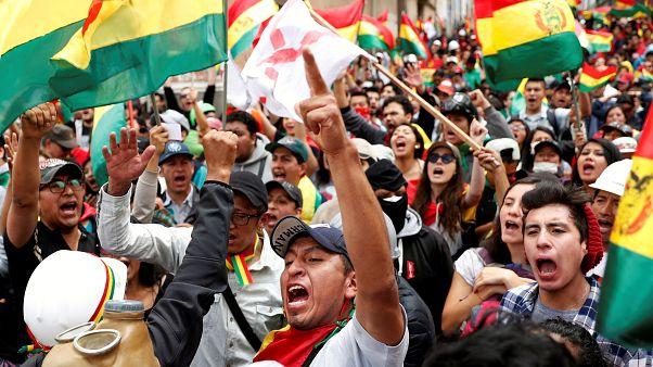جانب من المظاهرات المناوئة لموراليس في لا باز، 9 نوفمبر 2019