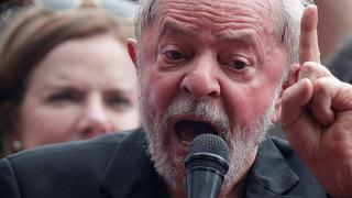 Luiz Inacio Lula da Silva gestures during a speech after being released from prison, in Sao Bernardo do Campo, Brazil November 9, 2019