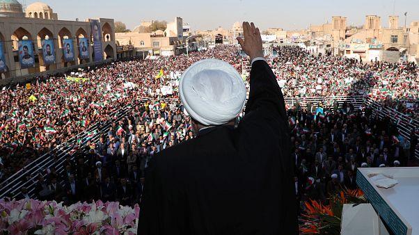الرئيس الإيراني حسن روحاني خلال خطاب ألقاه اليوم في طهران