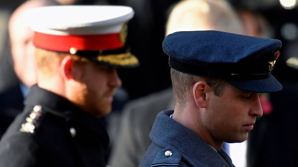 Britain's Prince William and Prince Harry attend a National Service of Remembrance at The Cenotaph in Westminster, London, Britain, November 10, 2019.