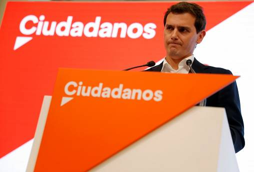 Ciudadanos leader Albert Rivera addresses the media at the party headquarters a day after general elections, in Madrid