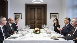 Orbán Viktor fogadja Charles Michelt, az Európai Tanács megválasztott elnökéta Karmelita kolostorban, jobbról Varga Judit igazságügyi miniszter