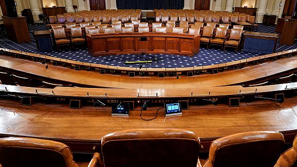 The committee room in the Longworth House Office Building where the public hearings in the impeachment inquiry against U.S. President Donald Trump are scheduled to take place