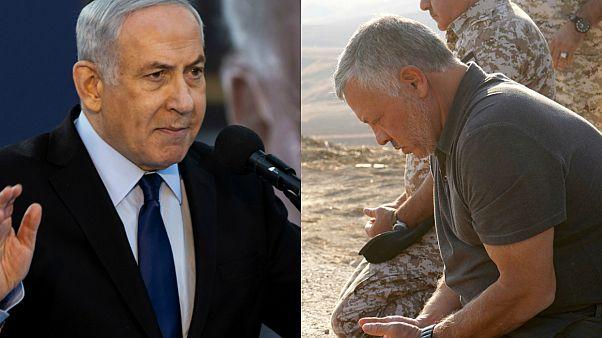 العاهل الأردني الملك عبد الله ورئيس الوزراء الإسرائيلي بنيامين نتنياهو