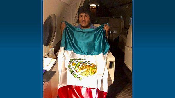 اوو مورالس، رئیس جمهوری مستعفی بولیوی در هواپیمای دولتی مکزیک