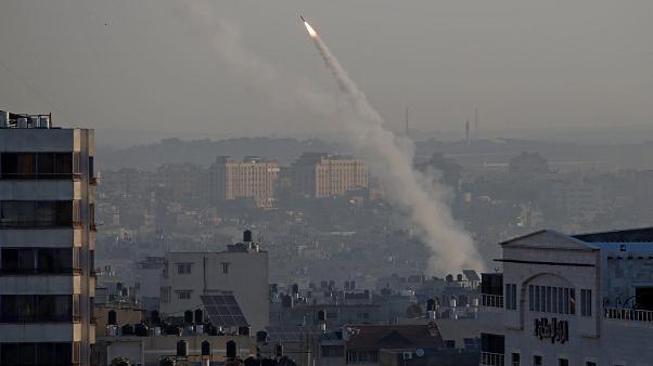 A rocket is fired towards Israel from the Gaza Strip