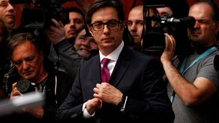 Newly elected President of North Macedonia Stevo Pendarovski attends his inauguration ceremony in Skopje, North Macedonia, May 12, 2019.
