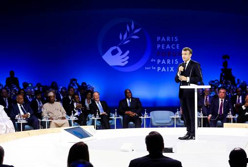 French President Emmanuel Macron delivers a speech at the start of the Paris Peace Forum, France November 12, 2019.