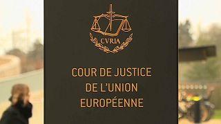 لافتة على مدخل محكمة العدل الأوروبية في لوكسمبروغ  12.11.19