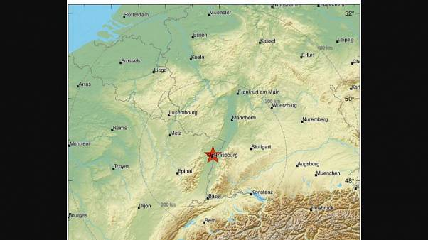 The earthquake struck just north of Strasbourg