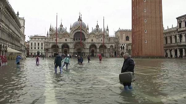 St. Mark's square becomes a lake as flood season begins in Venice