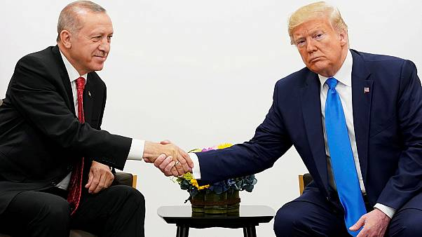 U.S. President Donald Trump shakes hands during a bilateral meeting with Turkey's President Tayyip Erdogan during the G20 leaders summit in Osaka, Japan, June 29, 2019.