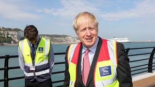 Boris Johnson on a visit to the Port of Dover Ltd., during the Conservative Party leadership campaign tour in Dover, Britain July 11, 2019.