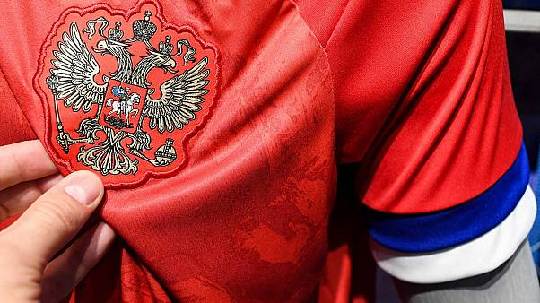 Le nouveau maillots de l'équipe russe, et ses fameuses bandes à l'envers, photographié dans un magasin Adidas à Moscou, le 13 novembre 2013