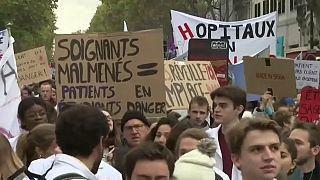 شاهد: مسيرة للعاملين في المستشفيات الفرنسية تطالب برفع الأجور وزيادة الدعم المالي لقطاع الصحة