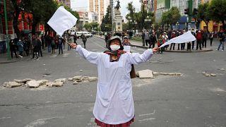 Demonstrantin in La Paz