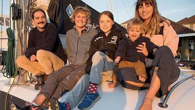 Greta Thunberg on board La Vagabonde catamaran